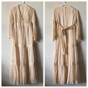 Vintage boho bell sleeve prairie wedding dress